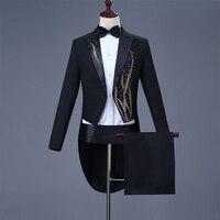Cozimastarla Mens Wedding Dress Suits Chorus Singer Stage Magic Costume Men Groom Tuxedo Tailcoat Black (jacket+pant+belt+bow)
