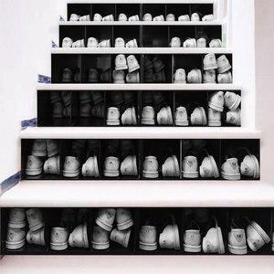 Image 5 - カラフルな引き出しモザイクブルーシーワールド黒、白靴階段の壁のステッカー DIY ステップステッカー壁デカール壁画壁紙 2019