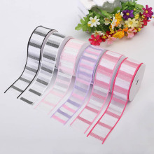3.8cm New Satin Ribbon 6 Color Random Stripe Two-Color Horizontal Strip Birthday Party Decoration Supplies Printing