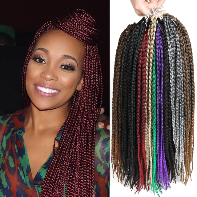 "tight 18"" burgundy synthetic braiding"