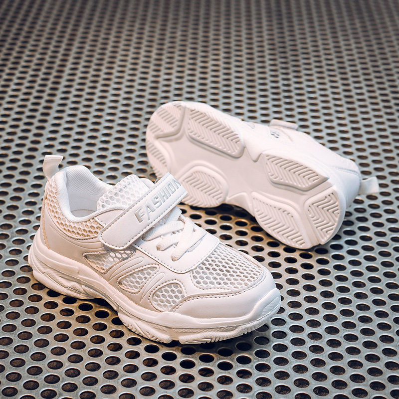2019 Summer New Boys And Girls White Shoes Breathable Children's White Mesh Hollow Sports Shoes