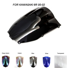 цена на Motorcycle Motorbike Windshield Double Bubble Windscreen Wind Deflectors For Kawasaki ZX6R ZX-6R 636 2000-2002 2000 2001 2002