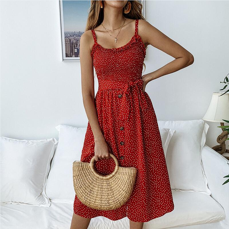 Dress Women Sashes-Cover Sexy Off-Shoulder Summer New Backless Dot Buttons Vestidos Midi