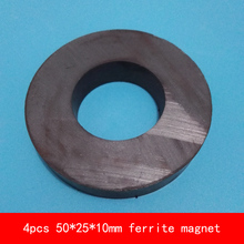цены 4PCS D50*10mm hole 25mm work temperature -40 to +220 Celsius permanent ring ferrite magnet speaker magnets