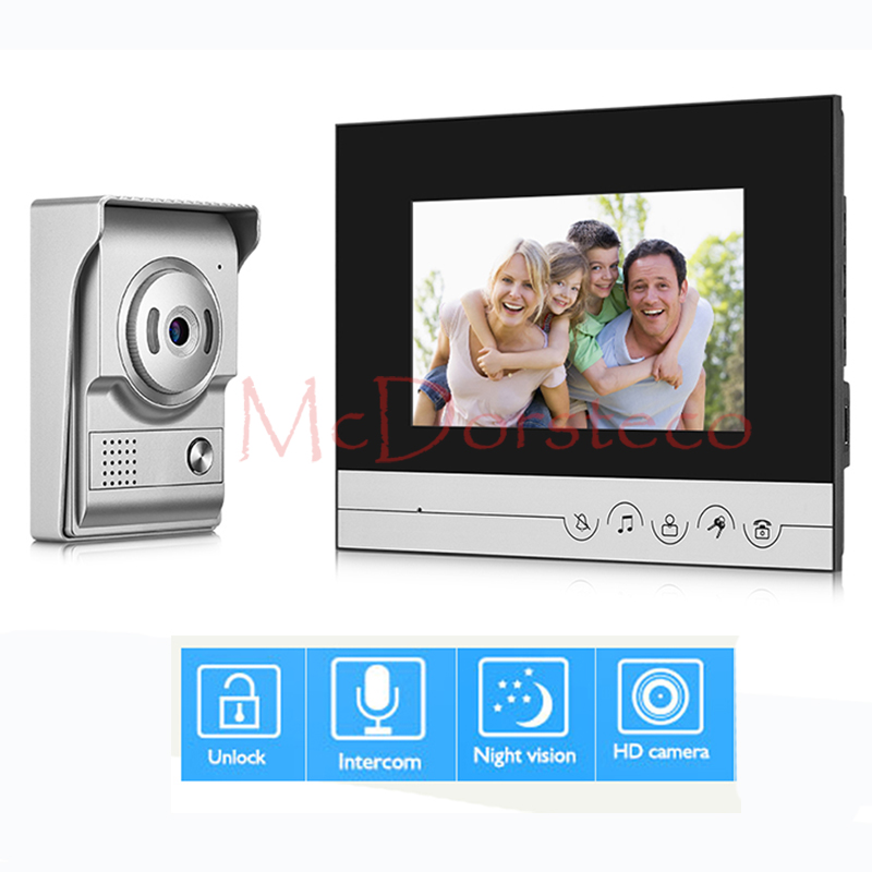7 inch Video Door Phone Doorbell Home Security Intercom System IR Night Vision Camera Intercom Door Bell System jeatone 7 inch video door phone doorbell intercom with 600tvl outdoor camera ip65 on door video intercom security system 4 wired