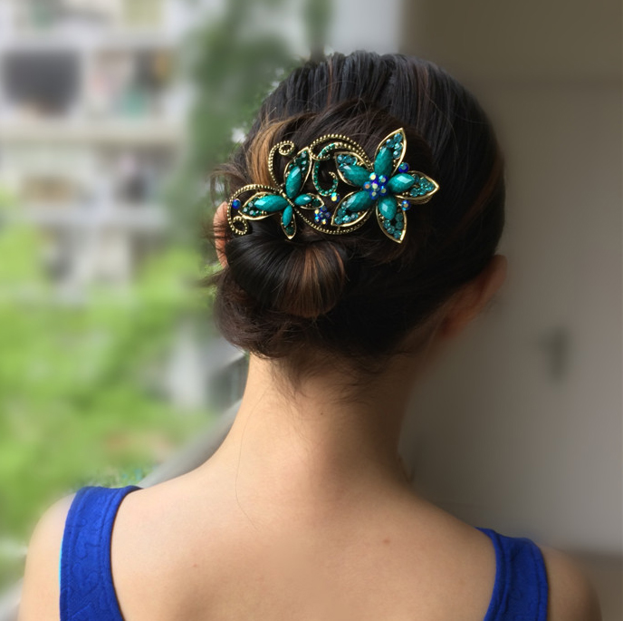 Metal Rhinestones Hair Clip Vintage Bronze Plating Butterfly Hair Claw Retro Flower Hairgrip Women Hair Jewelry fashion barrette baby hair clip 10pcs cute flower solid cartoon handmade resin flower children hairpin girl hairgrip accessories