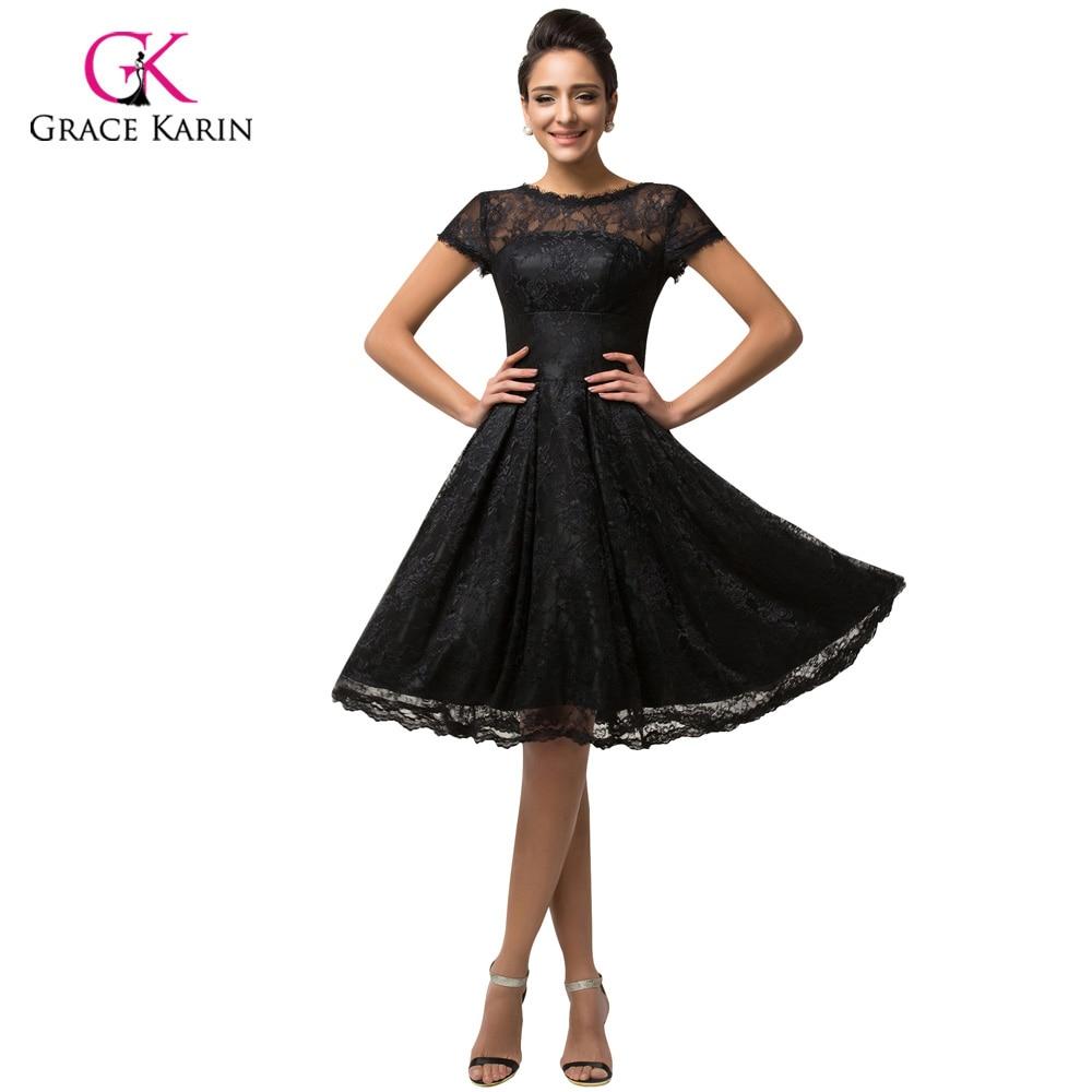 Short Sleeve Black Lace Cocktail Dresses Grace Karin Vestidos De ...