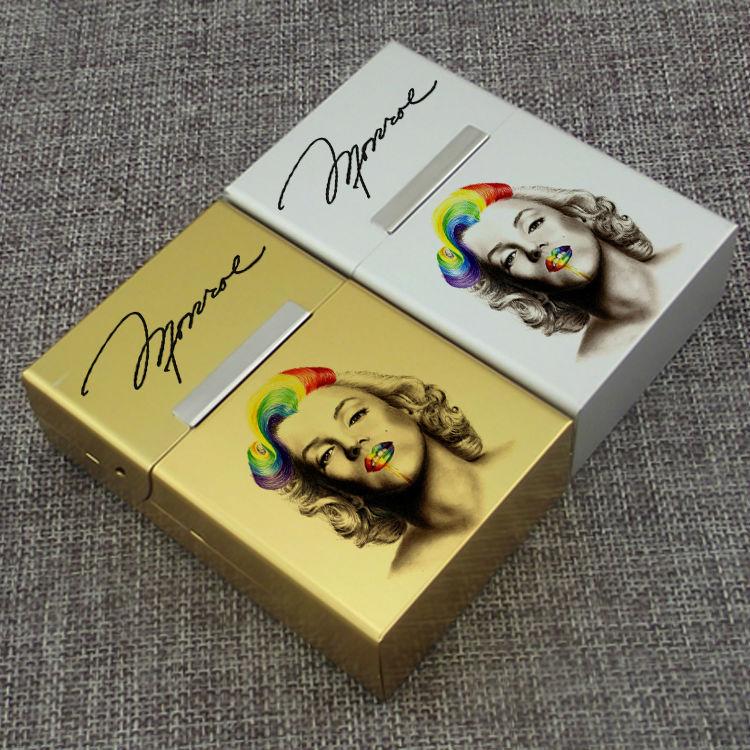 1 Piece Marilyn Monroe Hollyhood Film Star Celebrity Famous Person Aluminum Alloy Golden Silvery 20 PCS Flip Cigarettes Case