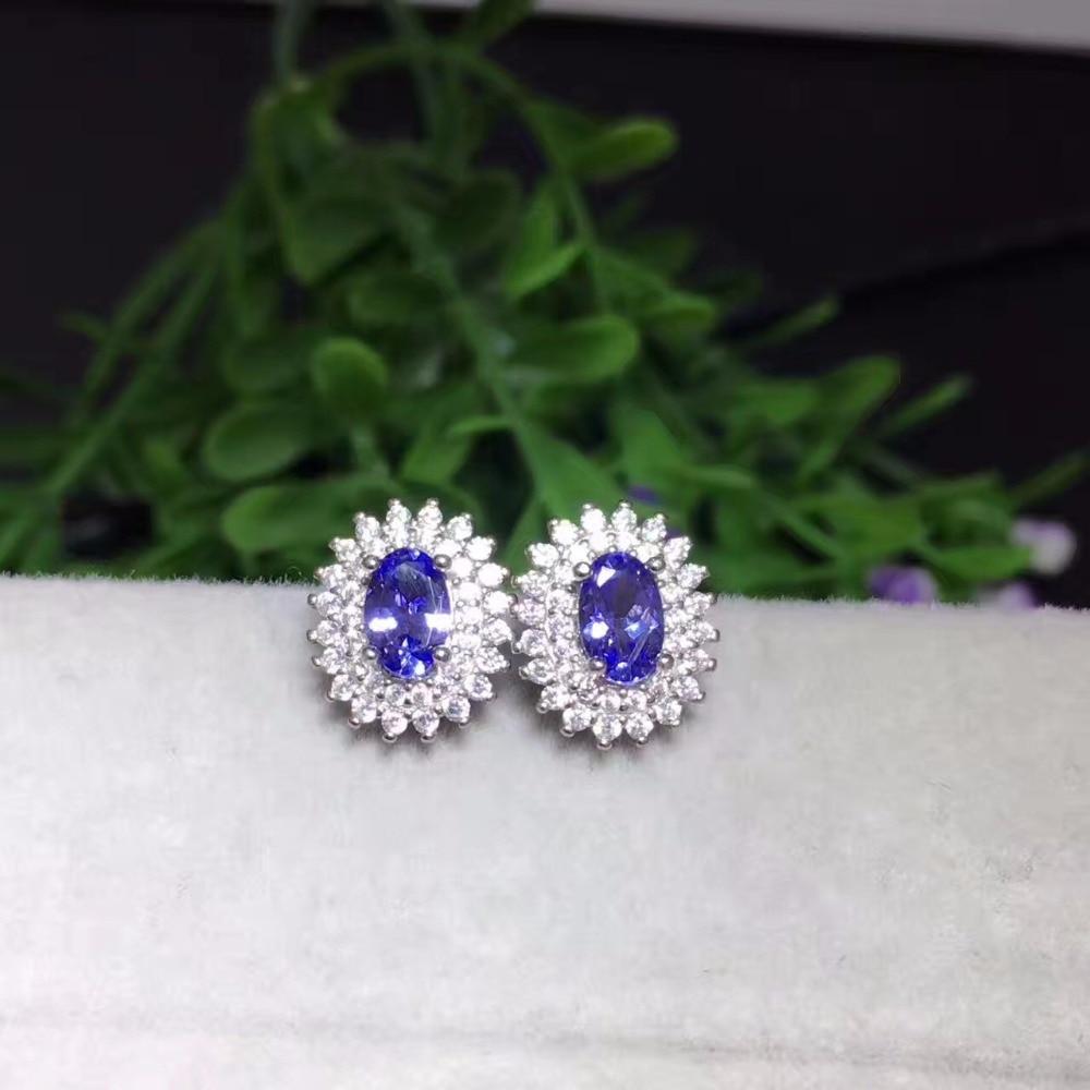 Uloveido Girl Oval Blue Tanzanite Wedding Stud Earrings for Women 925 Sterling Silver Anniversary Earrings for