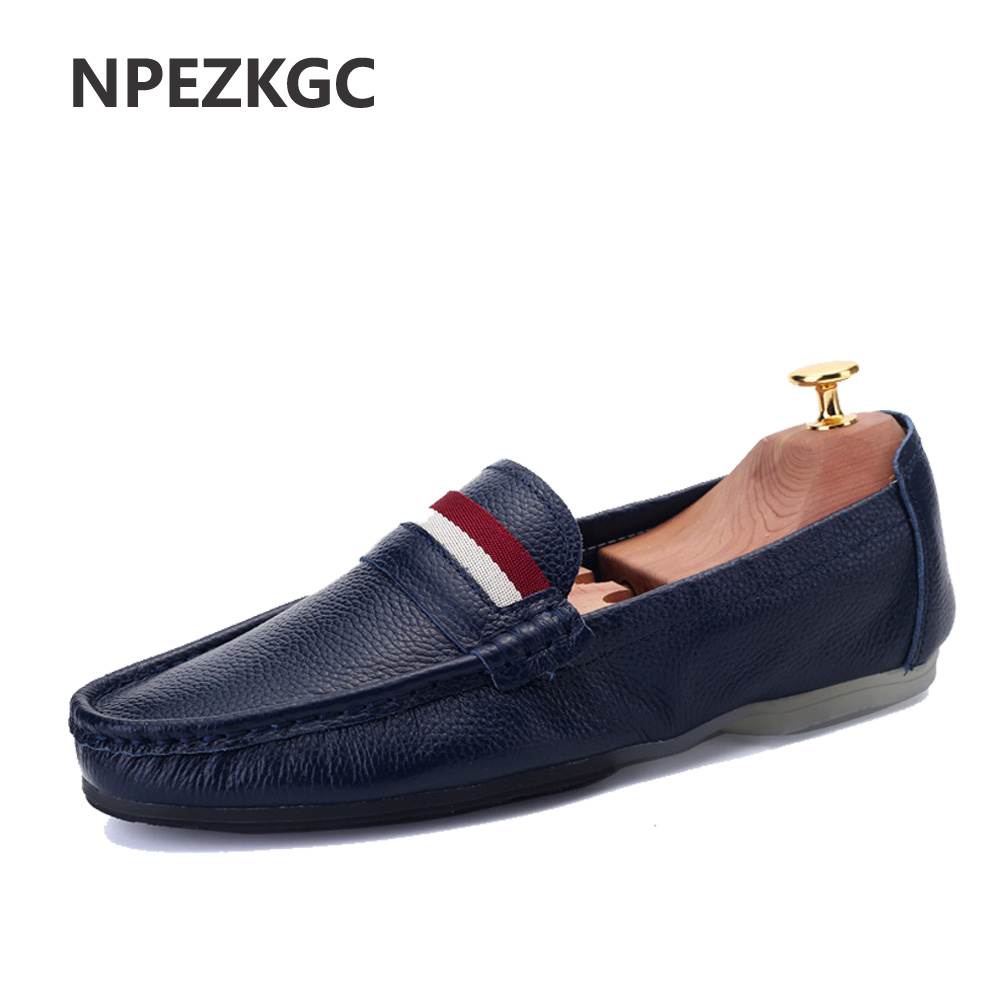 072d4ae58b2f8b NPEZKGC Fashion Summer Soft Men Loafers High Quality Genuine Leather  Moccasins Comfortable Man Slip On Flats Casual Driving Shoe-in Men's Casual  Shoes from ...