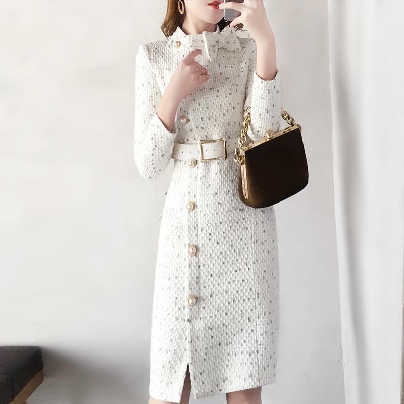 2019 Spring New Woolen Dress Women Fashion Autumn Wool Tweed Dresses Women Elegant Side Split Belted Vestidos Female Robes