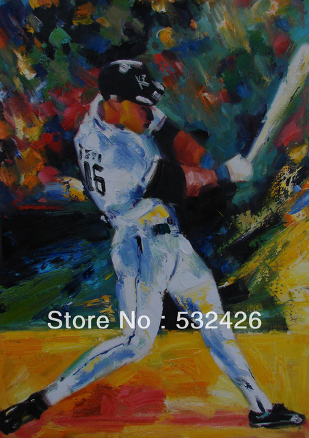 Baseball Player Strike Home Run Sports 24X36 Handpainted Oil Painting on Canvas Wall Art Home Decoration & Baseball Player Strike Home Run Sports 24X36 Handpainted Oil ...