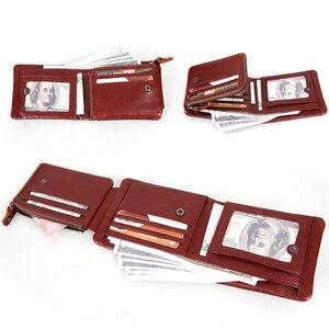 Image 5 - Cobbler Legend 100% Genuine Leather Men Wallets Vintage Trifold Wallet Zip Coin Pocket Purse Cowhide Leather Wallet For Mens