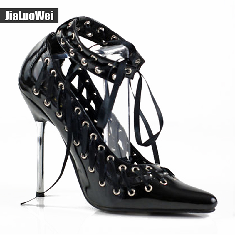 Jialuowei 2017 SUMMER WOMENS 12cm HIGH STILETTO HEEL SEXY FETISH GOING OUT COURT LACE UP SHOES