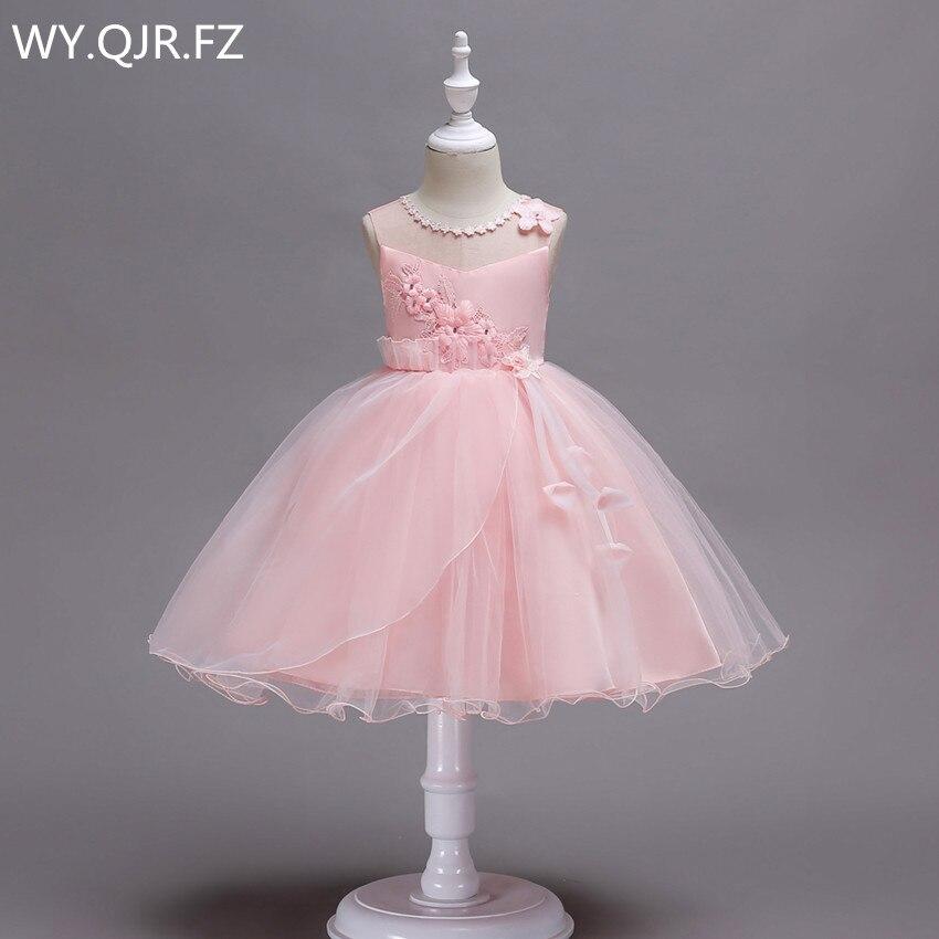 BH700#Pink green short Irregular hem   Flower     girl     dresses   performance party prom   dress   Wholesale cheap children's Ball Gown China