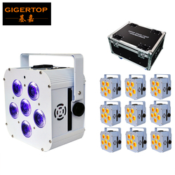 Freeshipping 10in1 Road Heavy Duty Flight Case Charging Power Socket Packing Battery Stage Light Flat Wireless 6x18W RGBWAUV
