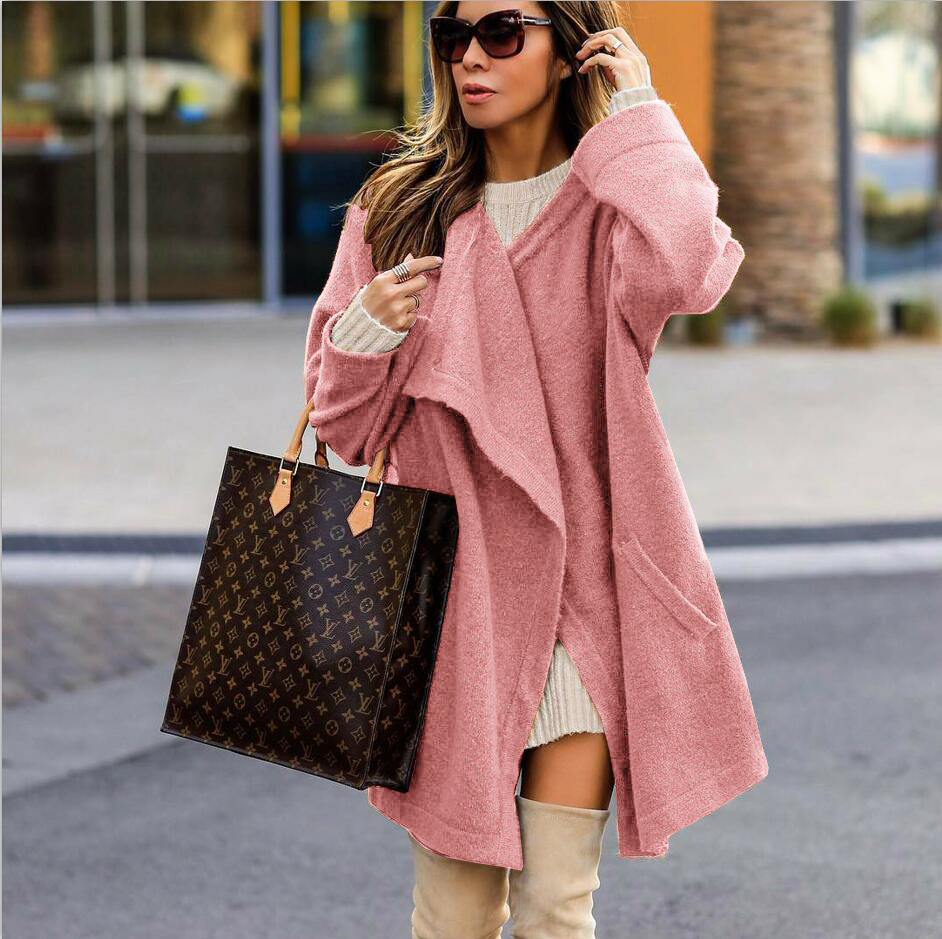 2019 women   trench   winter solid pink coat ladies winter female autumn warm clothing