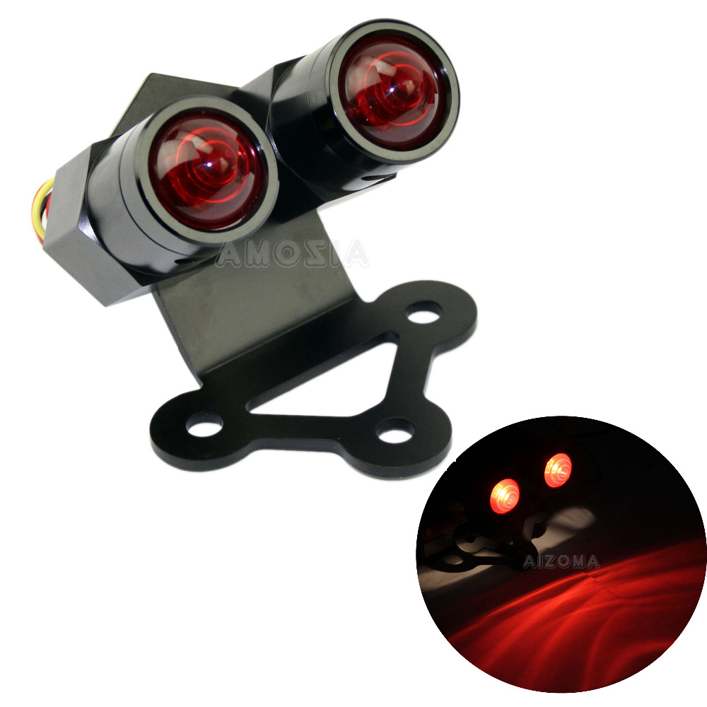 CNC Aluminum Cafe Racer Retro Taillight Twin Winsky Dual Brake Lamp License Plate Bracket For Harley
