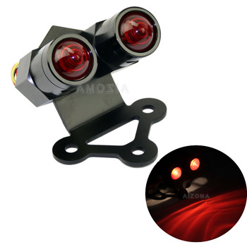 CNC Aluminum Cafe Racer Retro Taillight Twin Winsky Dual Brake Lamp License Plate Bracket For Harley Triumph Choppers Bobber