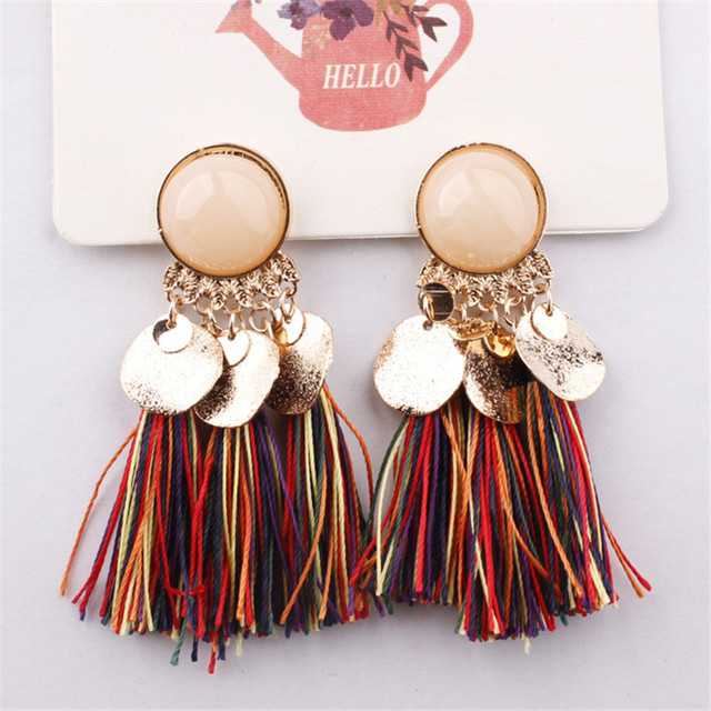 Bohemian Sequins Tassel Earrings for Women Wedding Party Acrylic Beads Statement Drop Earrings Long Vintage Fringing Jewelry