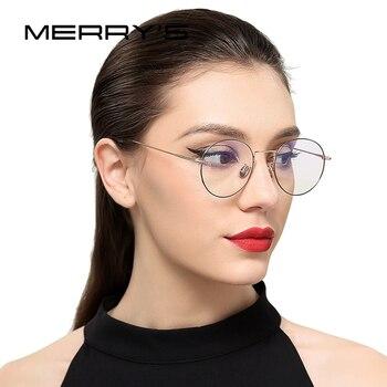 MERRYS 2017 nuevos hombres/mujeres Retro óptico marcos de anteojos clásico gafas de S8112