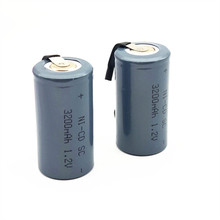 12PCS/LOT  SC NI-CD  3200mAh  battery NI-CD battery sub c battery SC battery replacement 1.2 v with tab 3200mah for tools high quality only for russian buyers 34 pcs sc battery sub c rechargeable battery replacement 2200mah 1 2v ni cd blue color