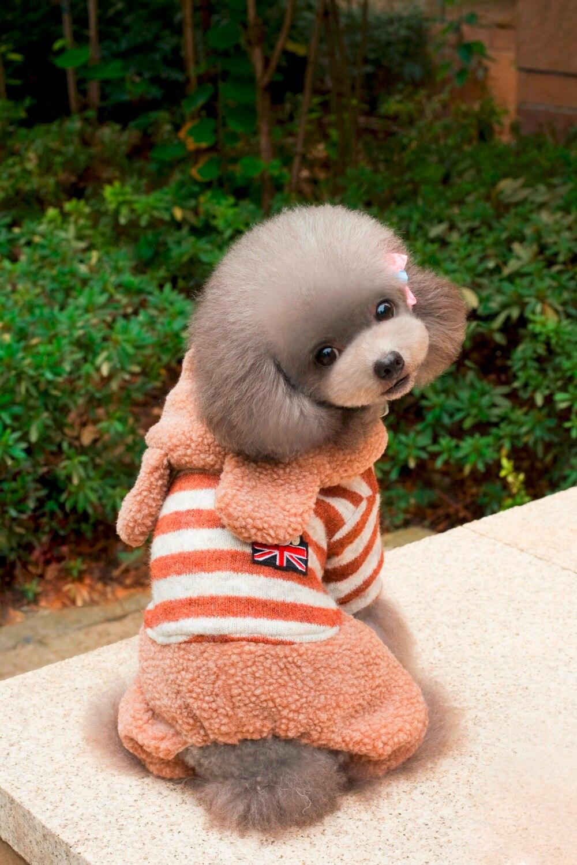 Neue Striped Kapuze Stil Vier Beine Pet Hunde Baumwolle