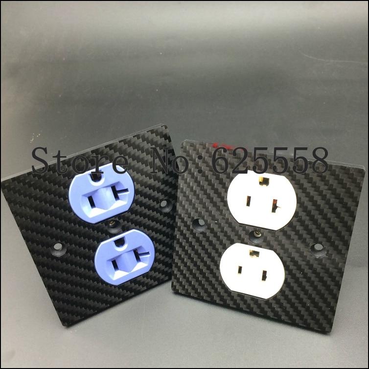 Hifi audio Hifi US ac power socket power Duplex Receptacle Copper Carbon Fiber Outlet HIFI Socket стоимость