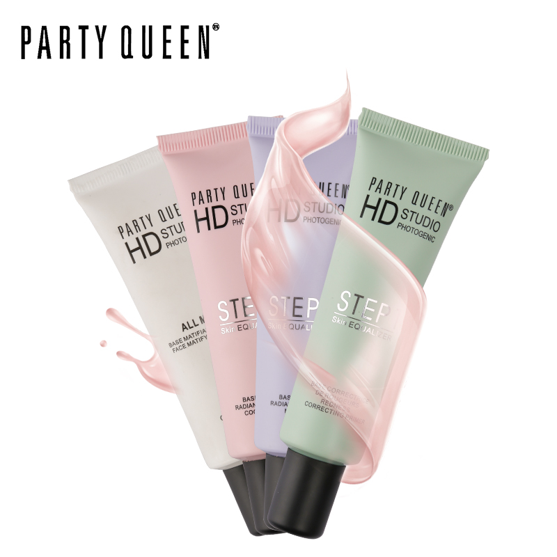 PARTY QUEEN Brand 4 Colors Face Base Primer Oil Free Correct Skin Tone Brighten Cover Pore Cream Concealer Foundation Makeup image