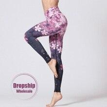 Женские штаны для йоги с высокой талией, для фитнеса, пуш-ап, трико, для спортзала, с цветами, спортивные Леггинсы, с принтом, для контроля живота, для пробежек