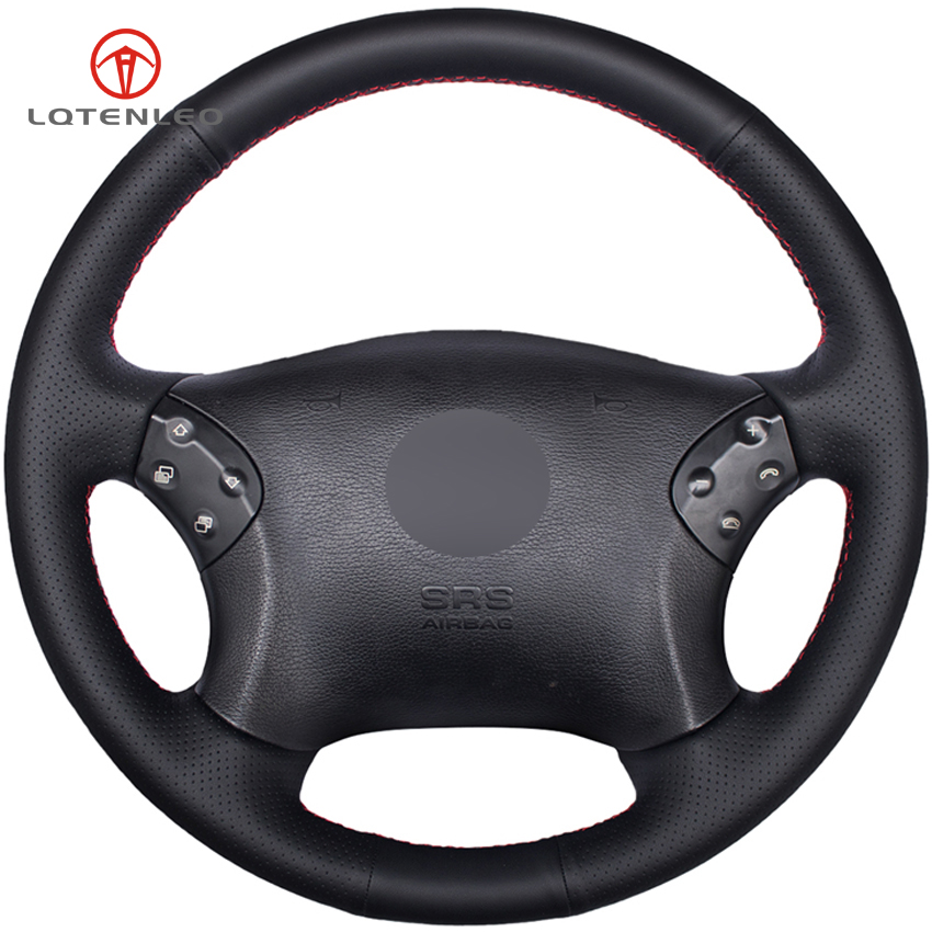 LQTENLEO Black Genuine Leather DIY Hand stitched Car Steering Wheel Cover for Mercedes Benz W203 C