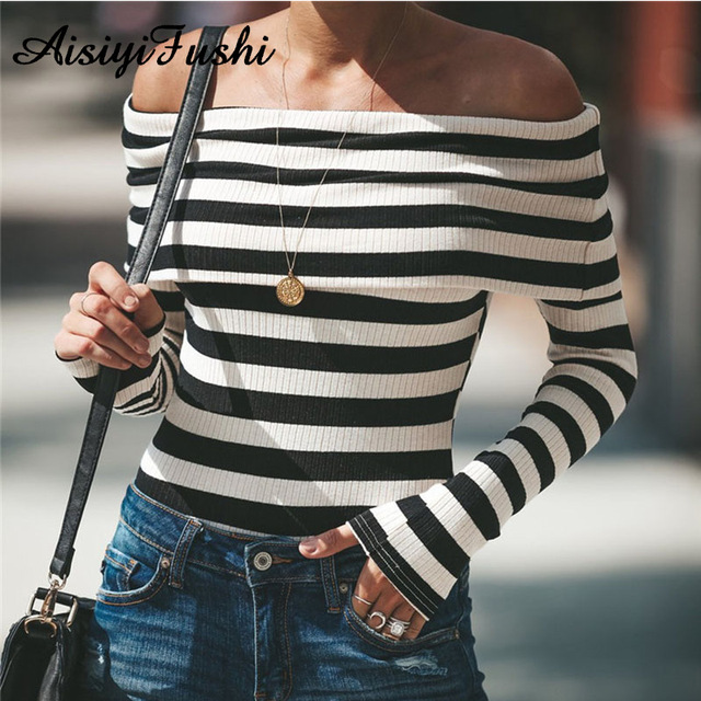 Black White Striped Bodysuit Women Off Shoulder Sweater Long Sleeve Autumn  Sexy Body Suits for Women 0393fa48f