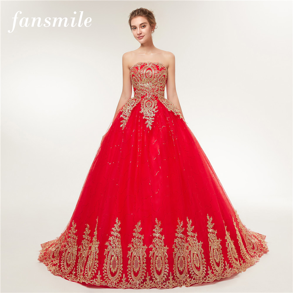 Fansmile 2017 Free Shipping Vintage Lace Red Wedding Dresses Long Train Plus Size Bridal Ball Gown Robe de Mariee Cheap FSM-118T