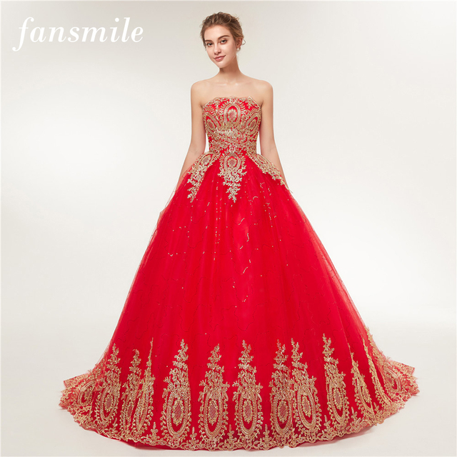 Fansmile 2017 Free Shipping Vintage Lace Red Wedding Dresses Long