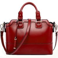 New Style Female Women Messenger Bags Retro Tote Bag Rivet Luxury Women Leather Handbags Elegant Genuine