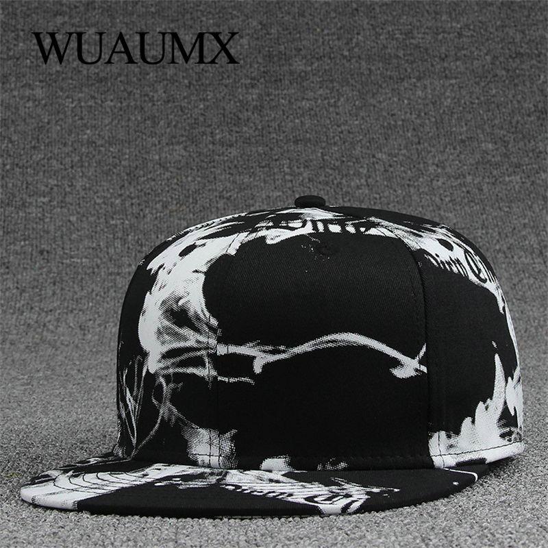 Wuaumx Fashion Bone Snapback Caps For Men Women's Fashionable Cap Ink painting Hip Hop Hat Baseball Caps Flat peak casquette
