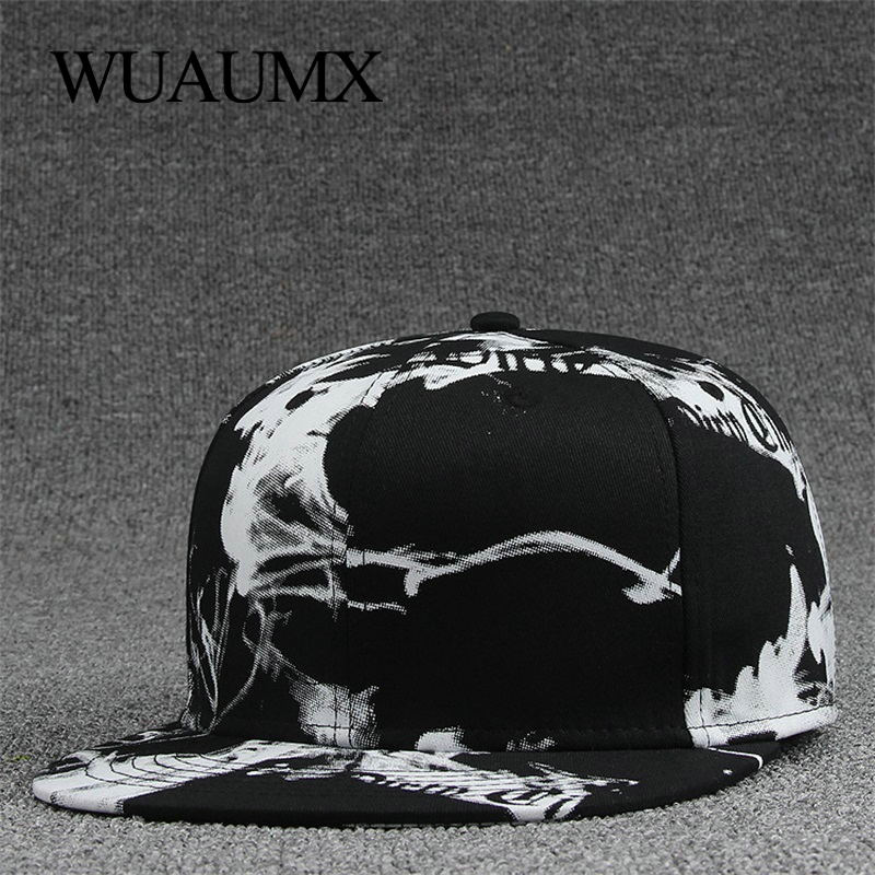 Wuaumx Fashion Bone Snapback   Caps   For Men Women's Fashionable   Cap   Ink painting Hip Hop Hat   Baseball     Caps   Flat peak casquette