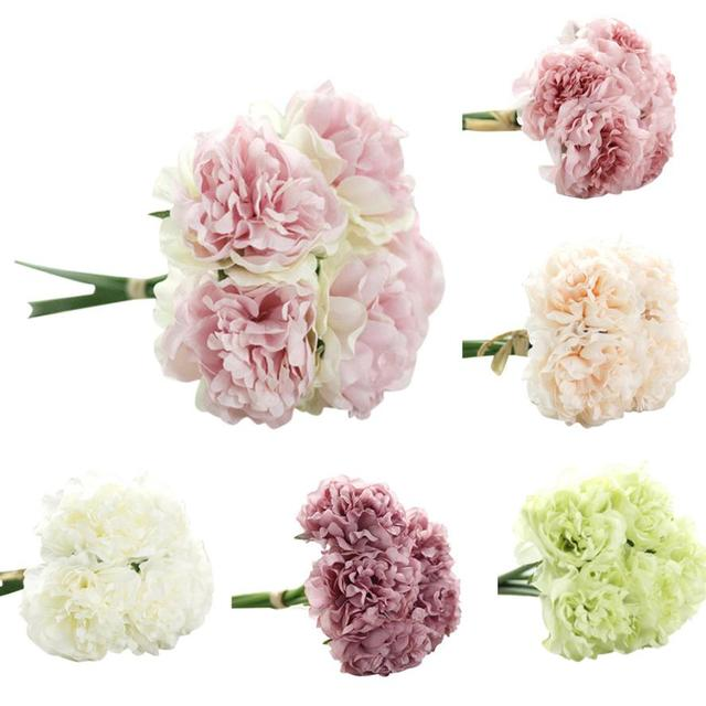 Artificial Silk Fake Flowers Peony Floral Wedding Bouquet Bridal ...