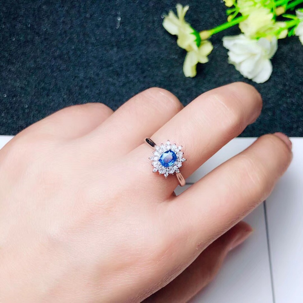 Engagement Ring ,Weding Ring Natural real blue sapphire ring  925 sterling silver Fine handworked jewelry Finger rings