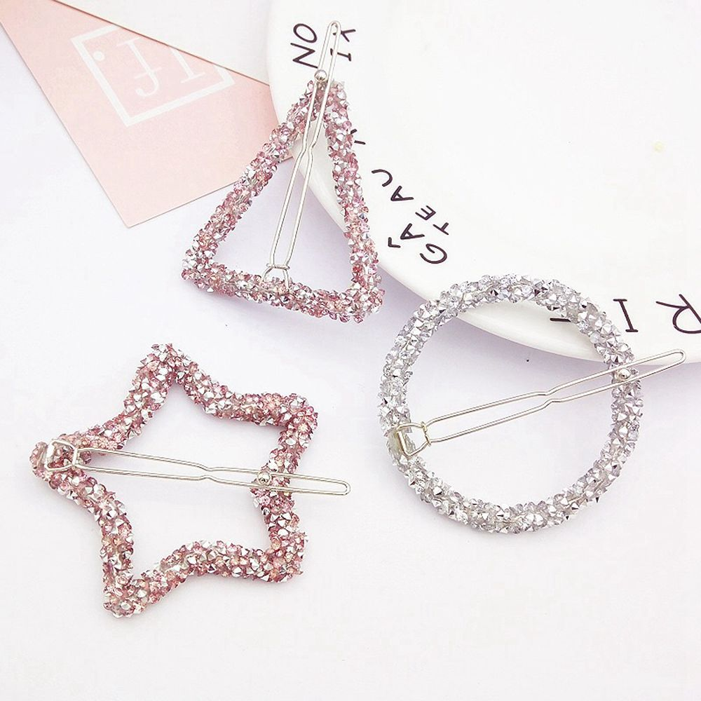 1 Pcs Fashion Crystal Rhinestones Hairpin Star Triangle Round Shape Women Hair Clips Barrettes Hair Styling Accessories(China)