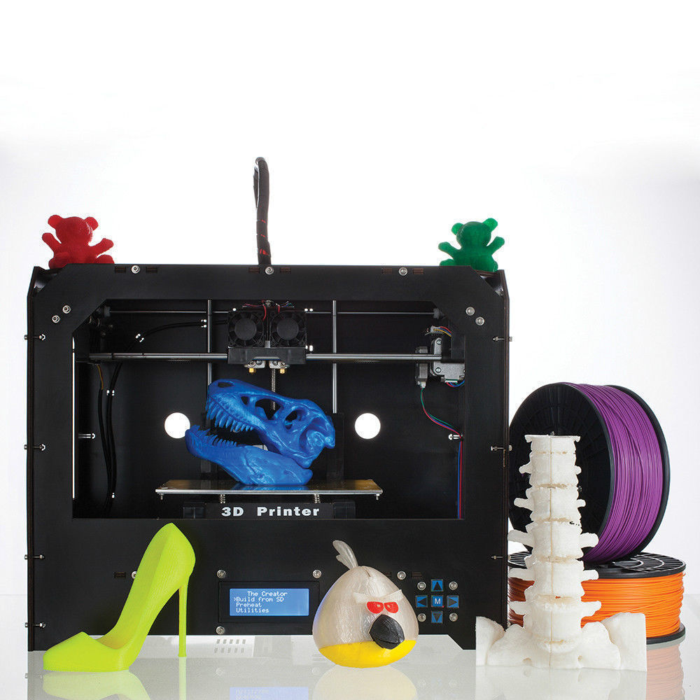 New CTC 3D Printer, Dual Extruder + Dual nozzle Two Color Printing 3d Printer / send 0.5KG Abs or Pla Spools for free