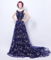 2017 New Arrival Noble Deep V-neck on the back Starry Sky Blue Galaxy Feeling Trailing Celebirty Dress/Evening Dress AH97