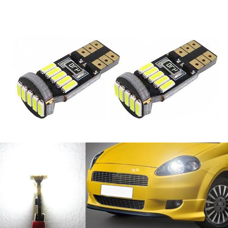 2x <font><b>Canbus</b></font> Car <font><b>4014</b></font> SMD <font><b>T10</b></font> LED <font><b>W5W</b></font> Projector Lens Auto Light Bulbs for FIAT 500 Punto Stilo Palio Freemont Bravo Ducato Doblo image