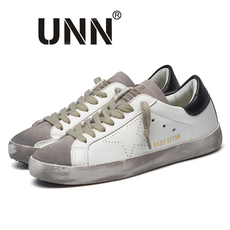 UNN New Brand Designer Goose star Golden PU Leather Casual Shoes Men Sneakers Footwear Zapatillas tenis masculino adulto tba brand designer 2018 italy golden genuine leather casual women shoes trainers goose star breathe shoes footwear zapatillas