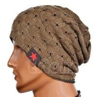 2015 Fall Winter Men Hat Knitted Five Star Striped Cap Hollow Double Wear Women Hat Unisex