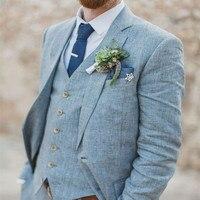 Latest Coat Pant Designs Light Blue Linen Wedding Suits for Men Beach Terno Slim Fit Groom Custom 3 Piece Tuxedo suit Vestidos