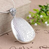 Xiangyuan fine antique crafts wholesale S990 Sterling Silver Pendant Heart Pendant Drop female verses Handmade Silver