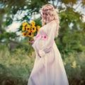 Sesión de Fotos de embarazo de la Playa Vestido de Gasa Blanca Flor Apoyos de La Fotografía Disfraces Ropa de Maternidad Largo Vestido de Embarazada
