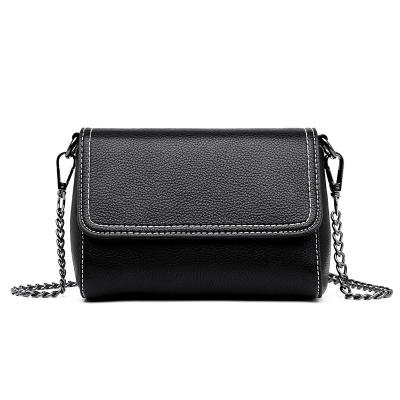 2018 new bag female sheepskin shoulder bag fashion wild Europe and America Messenger bag casual black color-in Shoulder Bags from Luggage & Bags    1