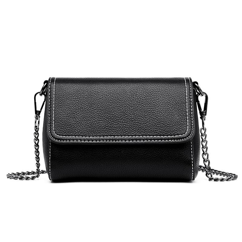 2019 nova bolsa feminina de pele carneiro bolsa de ombro moda selvagem europa e américa saco do mensageiro casual cor preta
